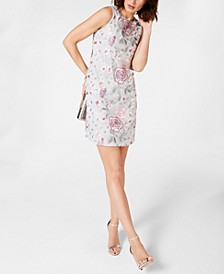Floral-Embroidered Shift Dress