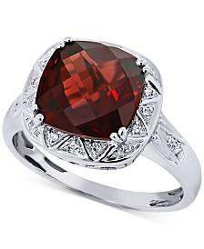 Rhodium Garnet (4-1/2 ct. t.w.) & Diamond Accent Ring in 14k White Gold