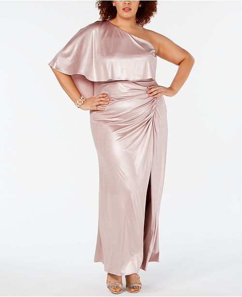 Adrianna Papell Plus Size One-Shoulder Metallic Gown