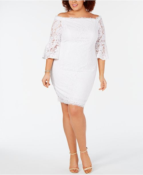 Adrianna Papell Plus Size Off-The-Shoulder Lace Dress