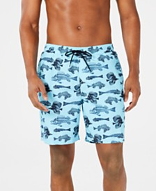 "Club Room Men's Quick-Dry Performance Bonefish-Print 7"" Swim Trunks, Created for Macy's"