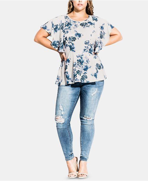 2b92b8cabcb City Chic Plus Size Sapphire Top   Reviews - Tops - Plus Sizes - Macy s