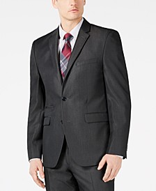 Men's Slim-Fit Stretch Charcoal Solid Twill Suit Jacket