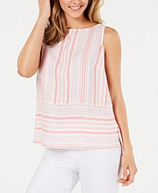 Linen Sleeveless Striped Top, Created for Macy's