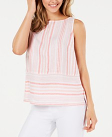 Charter Club Linen Sleeveless Striped Top, Created for Macy's
