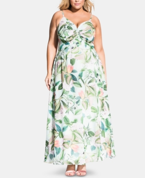City Chic Dresses TRENDY PLUS SIZE FRESH FLORAL TWIST MAXI DRESS