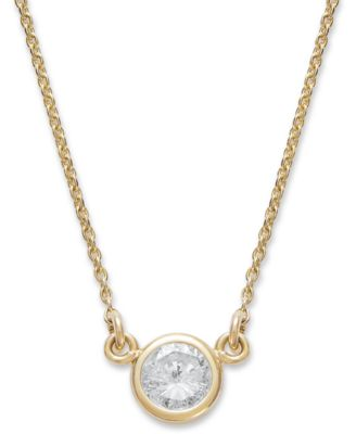 42963f2a3 Macy's Bezel-Set Diamond Pendant Necklace (1/5 ct. t.w.) in 14K Gold or  White Gold & Reviews - Necklaces - Jewelry & Watches - Macy's