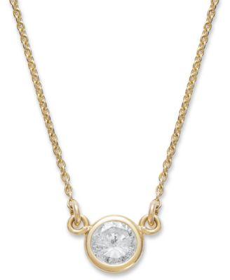 Macys bezel set diamond pendant necklace 15 ct tw in 14k gold macys bezel set diamond pendant necklace 15 ct tw in 14k gold or white gold necklaces jewelry watches macys aloadofball Choice Image