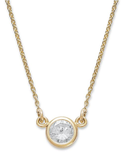 Macy's Bezel-Set Diamond Pendant Necklace (1/5 ct. t.w.) in 14K Gold or White Gold