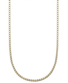 "18K Gold over Sterling Silver Necklace, 24"" Box Chain"