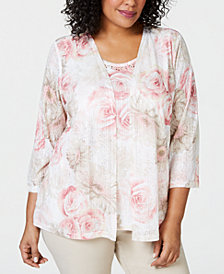 Alfred Dunner Plus Size Society Page Layered-Look Floral Print Top