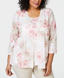 65304f545cb Alfred Dunner Plus Size Society Pages Layered-Look Floral Print Top