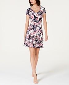 Connected Floral-Print V-Neck Dress