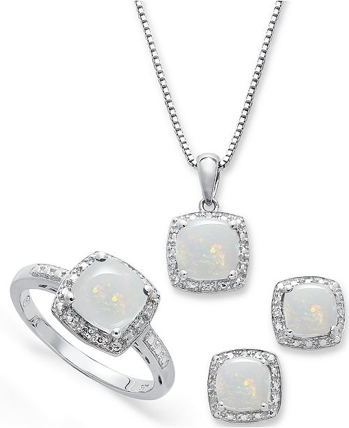 Macy's Sterling Silver Jewelry Set, Opal (4-3/4 ct. t.w.) and Diamond Accent Necklace, Earrings and Ring Set