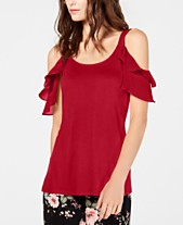 5ee80372e6 I.N.C. Ruffled Cold-Shoulder Top