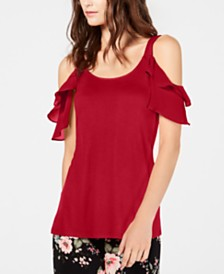 I.N.C. Ruffled Cold-Shoulder Top, Created for Macy's