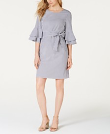 Pappagallo Striped Tiered-Ruffle Sleeve Dress