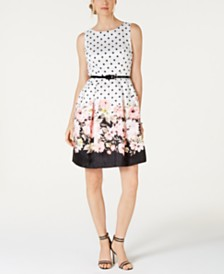 Jessica Howard Belted Border-Print Fit & Flare Dress