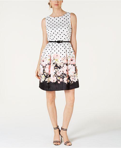 Jessica Howard Belted Border-Print Fit & Flare Dress