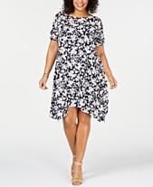 767e0a89377 Robbie Bee Plus Size Floral Printed Mesh Handkerchief-Hem Dress