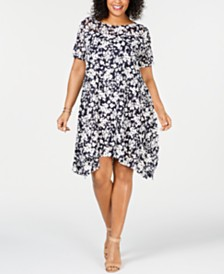Robbie Bee Plus Size Floral Printed Mesh Handkerchief-Hem Dress
