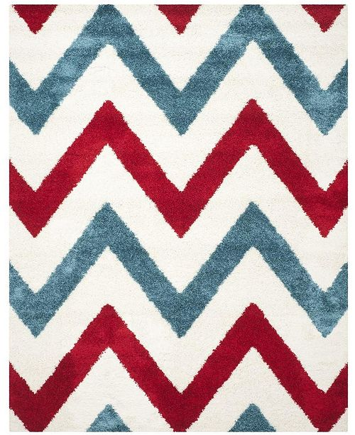 "Safavieh Shag Kids Ivory and Red 8'6"" x 12' Area Rug"