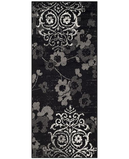 "Safavieh Adirondack Black and Silver 2'6"" x 10' Runner Area Rug"