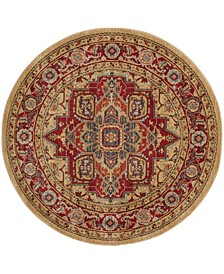 """Mahal Red and Natural 6'7"""" x 6'7"""" Round Area Rug"""