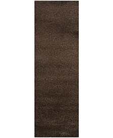"Santa Monica Shag Brown 2'3"" X 11' Runner Area Rug"