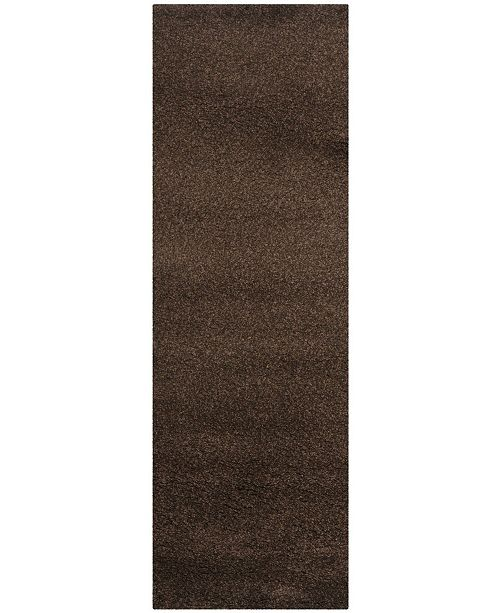 "Safavieh Santa Monica Shag Brown 2'3"" X 11' Runner Area Rug"