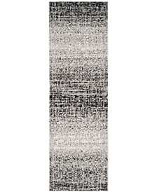 "Adirondack Silver and Black 2'6"" x 22' Area Rug"