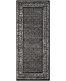 """Adirondack Black and Silver 2'6"""" x 16' Runner Area Rug"""