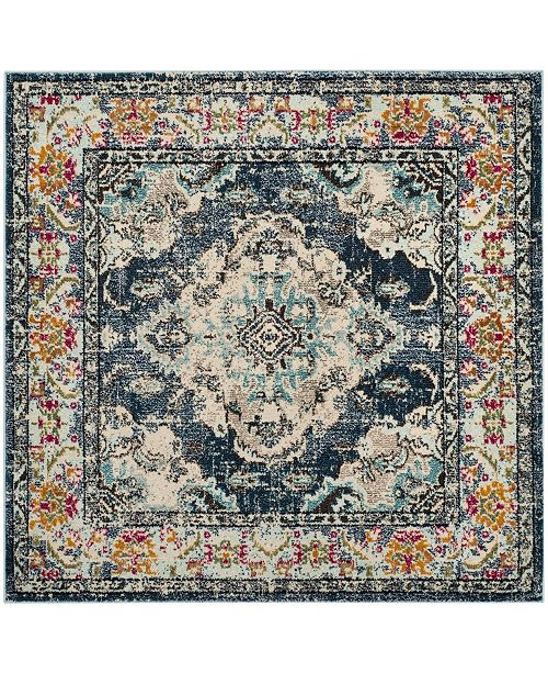 "Safavieh Monaco Navy and Light Blue 6'7"" x 6'7"" Square Area Rug"