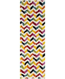 "Shag Kids Ivory and Multi 2'3"" x 9' Runner Area Rug"