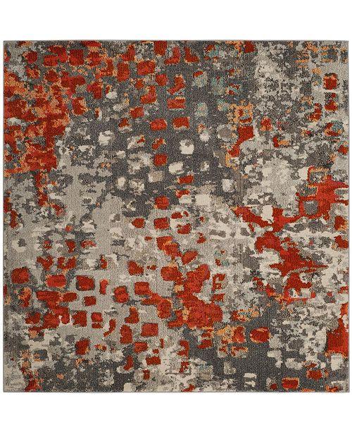 Safavieh Monaco Gray and Orange 5' x 5' Square Area Rug