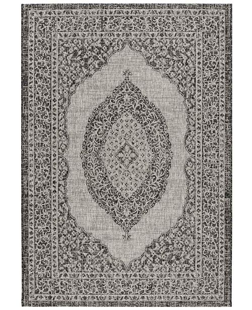 "Safavieh Courtyard Light Gray and Black 4' x 5'7"" Sisal Weave Area Rug"
