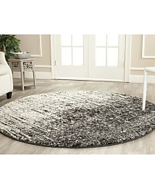 Safavieh Retro Black and Gray 4' x 4' Round Area Rug
