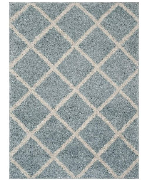 Safavieh New York Shag Blue and Ivory 2' X 8' Runner Area Rug