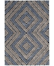 Memphis Gray and Blue 4' x 6' Area Rug