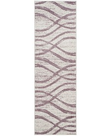 "Adirondack Cream and Purple 2'6"" x 6' Runner Area Rug"