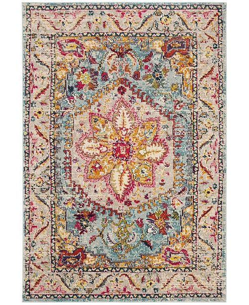 "Safavieh Phoenix Turquoise and Beige 6'7"" x 6'7"" Square Area Rug"