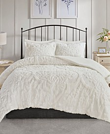 Madison Park Viola King/Cal King 3 Piece Cotton Chenille Damask Comforter Set