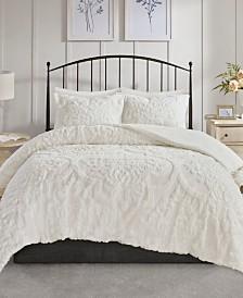 Madison Park Viola King/Cal King 3 Piece Cotton Chenille Damask Comforter Set