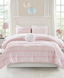Mi Zone Bella Twin/Twin XL 3 Piece Ruched Seersucker Comforter Set with Microlight Reverse