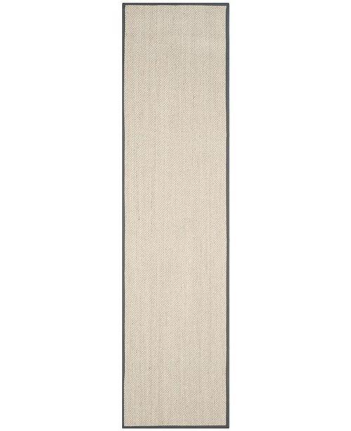 "Safavieh Natural Fiber Marble and Dark Grey 2'6"" x 8' Sisal Weave Runner Area Rug"