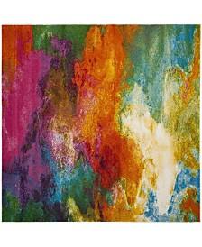 """Safavieh Watercolor Orange and Green 6'7"""" x 6'7"""" Square Area Rug"""