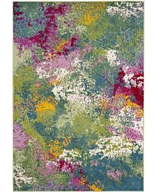 "Safavieh Watercolor Green and Fuchsia 6'7"" x 6'7"" Round Area Rug"
