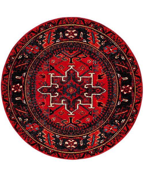 "Safavieh Vintage Hamadan Red and Multi 5'3"" x 5'3"" Round Area Rug"