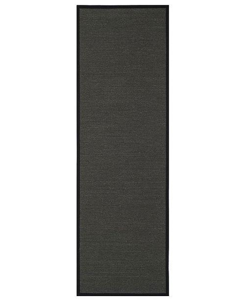 "Safavieh Natural Fiber Anthracite and Black 2'6"" x 12' Sisal Weave Runner Area Rug"
