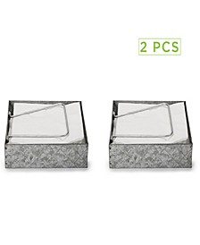 Galvanized Napkin Holder with Pivoted Arm - 2 Pack